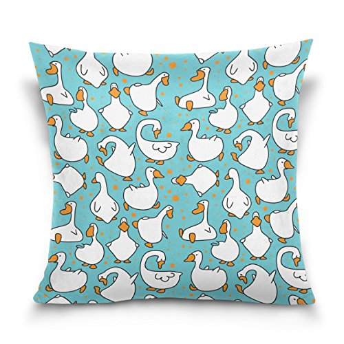 Double Sided Lovely Animal Funny Goose Cotton Velvet Square Pillow Slipcovers 20x20 Inch Decorative for Chair Auto Seat