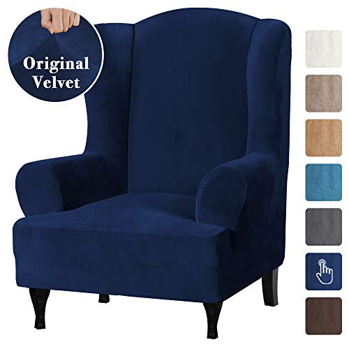 Ultra Velvet Plush High Stretch Sofa CoverWing Chair Slipcover 1 Piece Wing Back Arm Chair Furniture Cover Slipcover with Elastic Bottom Machine Washable Stay in Place Wing Chair Navy