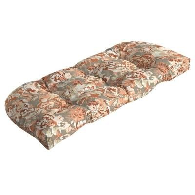 Hampton Bay 100 Polyester Filled Terracotta Floral Tufted Outdoor Settee Cushion