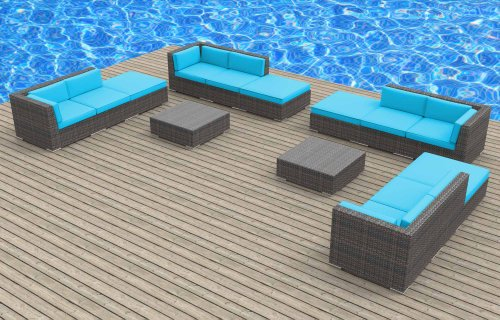 UrbanFurnishingnet 14c-keywest-seablue 14 Piece Modern Wicker Patio Furniture Sofa Sectional Couch Set