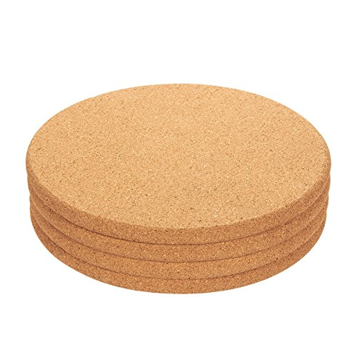Juvale 4-Pack Cork Trivet Set - Round Corkboard Placemats Kitchen Hot Pads for Hot Pots Pans and Kettles 9 x 9 x 05 Inches