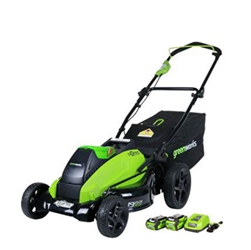Greenworks 2500502 G-max 40v 19-inch Cordless Lawn Mower 1 4ah 1 2ah Batteries And Charger Included