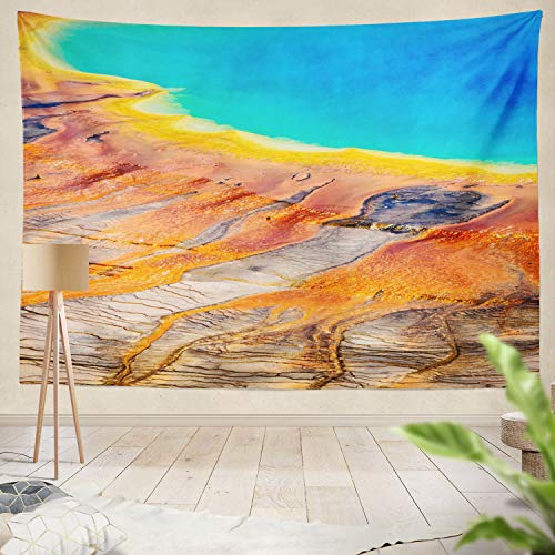 Summor Tapestry Colorful Pool Yellow Stone N Al Park Yellow Park N Al Pool Service USA America Hanging Tapestries 50 x 60 Inch Wall Hanging Decor for Bedroom Livingroom Dorm