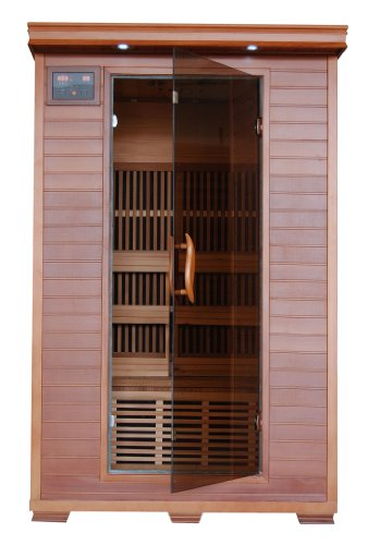 2 Person Sauna Fir Far Infrared 6 Carbon Heaters Red Cedar Wood Cd Player Mp3 Aux Color Light Therapy - Heatwave