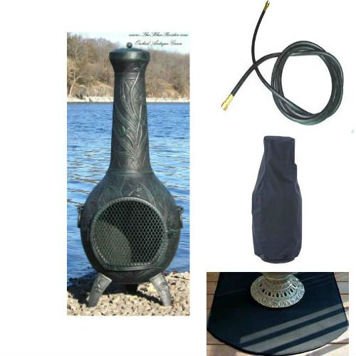 Blue Rooster Orchid Model Antique Green Color Natural Gas Outdoor Metal Chiminea Fireplace With 20 Ft Gas Line