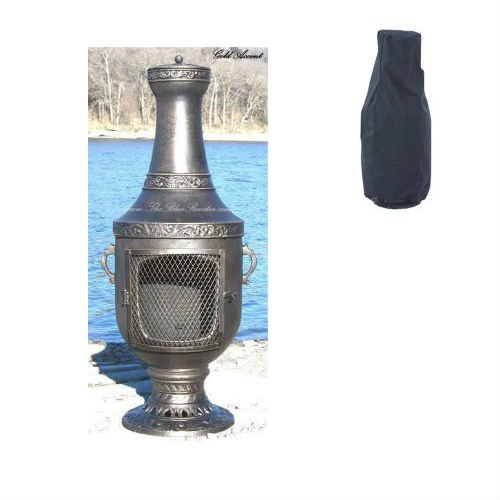 Blue Rooster Venetian Style Wood Burning Outdoor Metal Chiminea Fireplace Gold Accent Color with Large Black Cover