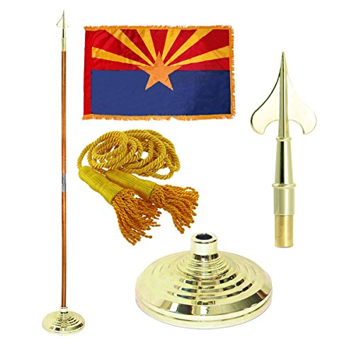 Arizona 3ft x 5ft Flag Flagpole Base and Tassel Army Spear 7 Ft Oak Pole