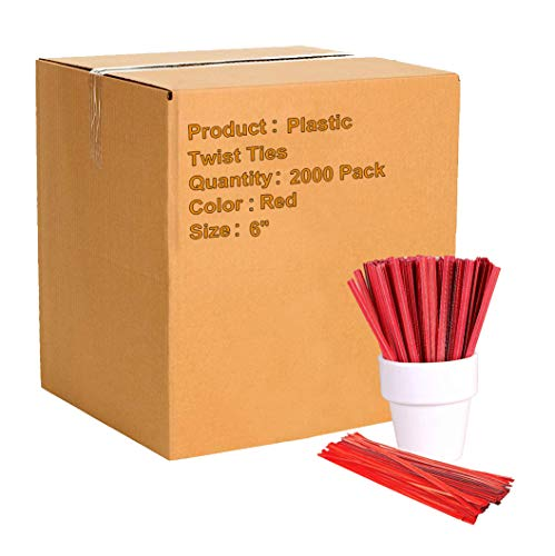 APQ Pack of 2000 Plastic Twist Ties 6 Multipurpose Red-Colored Twist Ties 6 for Various Plastic Trash Bread Bags Plastic Coated Metal Ties Bendable Versatile Strong Wire Ties for Tying Gift Bags