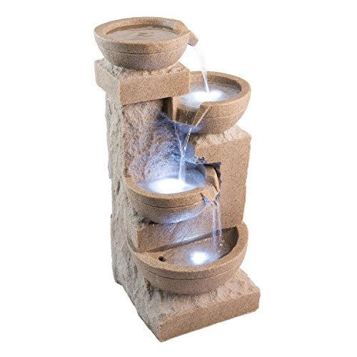 White Sand Bowl Fountain Outdoor Water Feature For Gardensamp Patios Weather Resistant Resin Includes Led Lights