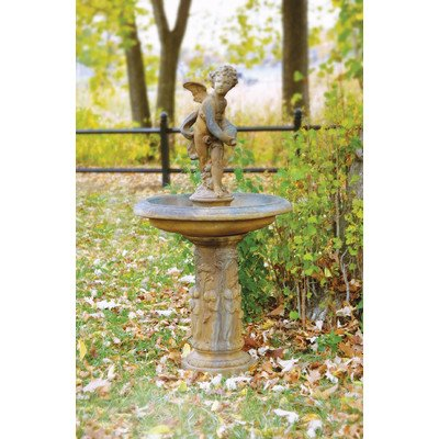 Fiber Stone Cupid Birdbath  Fountain
