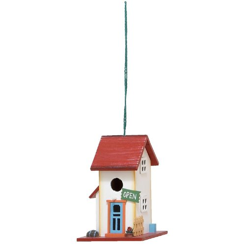 ORE International 20301 Hanging Wooden Birdhouse Red