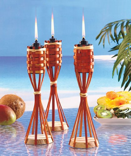 Tabletop Bamboo Tiki Lights Torch Set Of 3