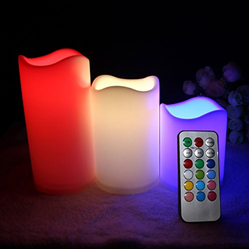 Multiple Color Flameless Candles Remote - Electric Candles Battery Operated Set Of 3 Remote Control 12 Color