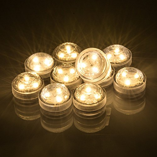 Set of 10 AceList Submersible Waterproof Underwater Tea Light Sub Lights Battery Operated LED TeaLight Thanksgiving Halloween Wedding Decoration Party Electric Flameless Candle