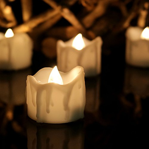 Youngerbaby 12pcs Warm White Flickering Timing LED Tea Light Candles With 100 Fake Rose Petals Flameless Battery-operated Tealights with Timer 6 Hrs on 18 Hrs Off for Wedding Christmas Outdoor