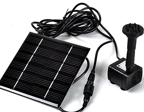 Sunnytech Solar Power Water Pump Kits - Garden Fountain Pool Watering Pond Pump Pool Aquarium Fish Tank with Separate Solar Panel and 3M Long Cable 4 Sprayer AdaptersBlack