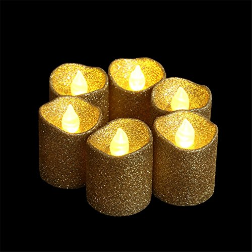 Gold Glitter Led Votive Candle Flameless Tealight Candle Battery Powered For Wedding Christmas Party Celebration