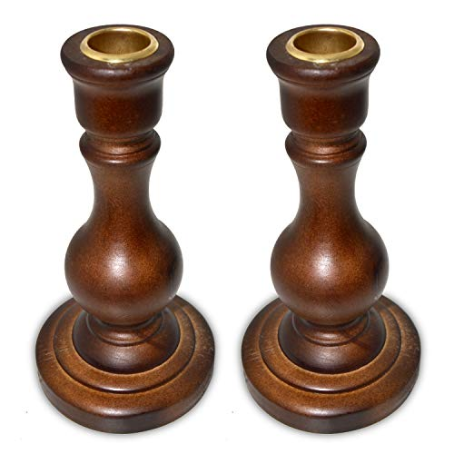 NIGHTKEY Wooden Taper Candle Holder Holds 2 Traditional Taper CandleLED Candle Decorative Candlestick Holder for Home Dinning Wedding and Party Set of 2