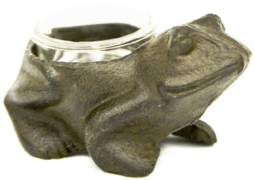 Caffco International Cast Iron Frog Candle Holder With Glass Votive Cup