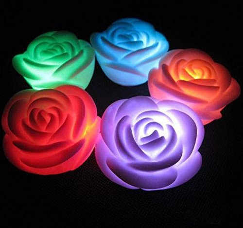 Flameless Candles6-battery Powered Color Changing 7 Colors Led Romantic Rose Flower Night Light Candle