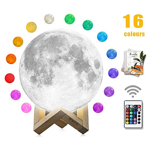 Moon Lamp mono living16 Colors 3D Print Moon Light 59inch LED with Stand Remote Control Baby Night Light Valentines Birthday Gifts Family Couple Daughter Mother Teen Girl Boyfriend Girlfriend