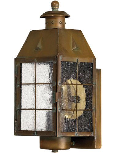 Aged Brass Nantucket Porch Light With Clear Seedy Glass Outdoor Antique Lighting