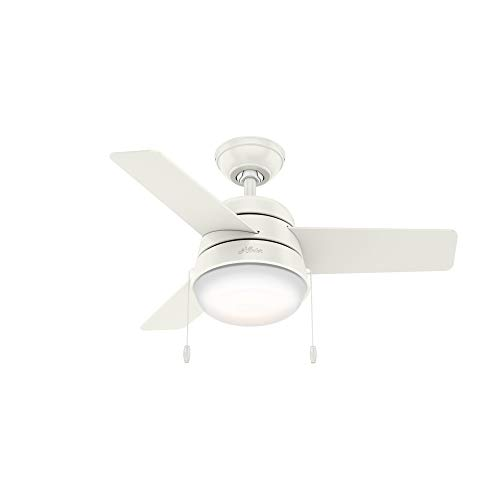 Hunter Indoor Ceiling Fan with LED Light and pull chain control - Aker 36 inch White 59301