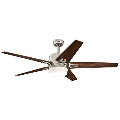 Westinghouse Lighting 7204600 Remote Control Included Zephyr 56-inch Brushed Nickel Indoor Ceiling Fan Dimmable LED Light Kit with Opal Frosted Glass