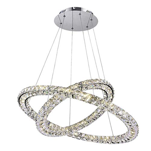 zZZ Chandelier Modern Crystal Chandelier LED 2 with A Unique Mounting Ring Embedded LED Ceiling Chandelier Pendant Lamps Doublecircle30 50 cm Warm