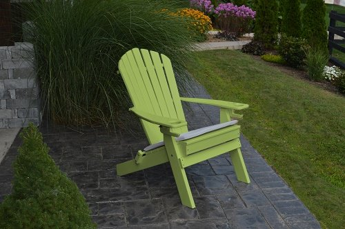 New Deluxe 7 Slat Poly Lumber Wood Folding Adirondack Chair With 2 Cup Holders-lime Green- Amish Made Usa