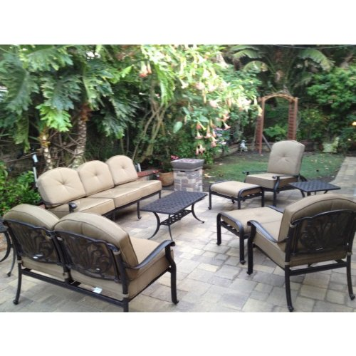 Heritage Outdoor Living Elisabeth Cast Aluminum 9pc Outdoor Patio Sofa Deep Seating Chat Set - Antique Bronze