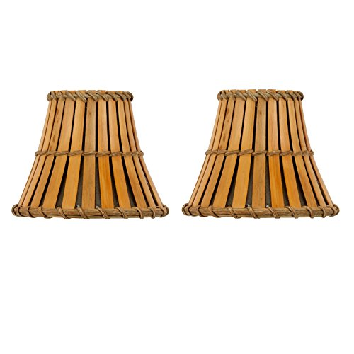 Upgradelights Set of 2 Bamboo Style 5 Inch Chandelier Lamp Shades 3x5x45