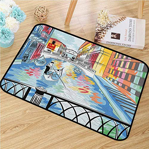 GUUVOR Venice Inlet Outdoor Door mat Colorful Sketch of a Landscape The Bridge of Sighs in Venice Artistic Romantic Scene Catch dust Snow and mud W472 x L60 Inch Multicolor