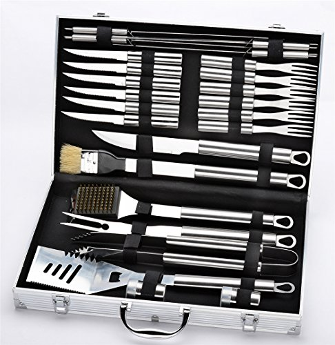 VolksRose Premium 24 Pieces Stainless Steel BBQ Set with Aluminum Storage Case - Heavy Duty Professional Outdoor Barbecue Grill Tool Accessories Kit - Perfect Christmas Gifts Idea