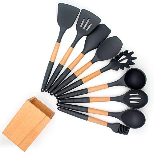 Silicone Cooking Utensil Set with Holder for Non-stick Cookware Silicone Spatula Set with Wood Handle 10 Pieces Silicone Turner Tongs Spatula Spoon Cooking Gadgets Utensil Set Dark Grey