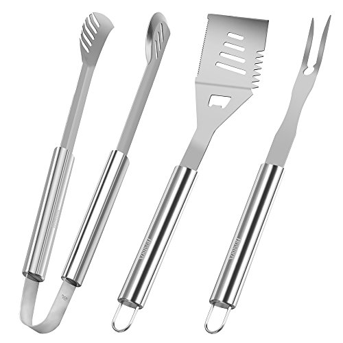 Homdox Grilling Tool Set - Stainless Steel BBQ Grill Tool Set 3 Pieces Include Spatula Tongs and Fork