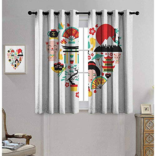 Japanese Patio Door Curtains for Bedroom The Land of The Rising Sun Culture Bonsai Tree Fuji Mountain Tea Sushi Zen Design Darkening Drapes for Bedroom W62 x L84 Inch Multicolor