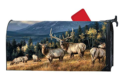 Autumn Winter Deers Mailbox Cover Magnetic Decorative Mailbox Wrap for Standard SteelMeal Mailbox All Weather Vinyl - Wildlife Elk