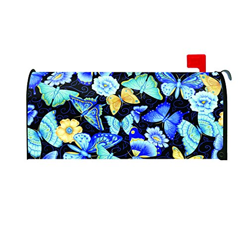 Toland Home Garden Blue Butterfly Decorative Mailbox Cover
