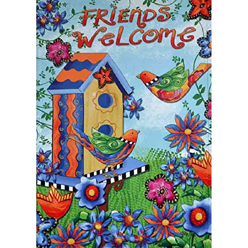 Large Porch Flag Friends Welcome Flowers Spring 28 x 40