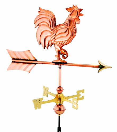 Good Directions 802pr Rooster Cottage Weathervane Polished Copper With Roof Mount