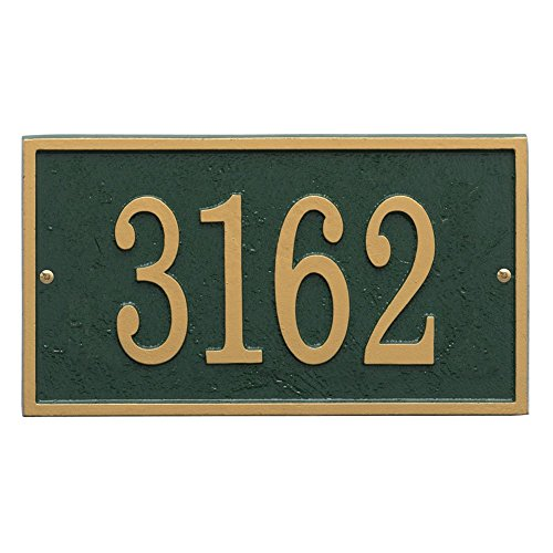 Personalized Cast Metal Rectangle House Number Custom Address Plaque Sign - Greengold